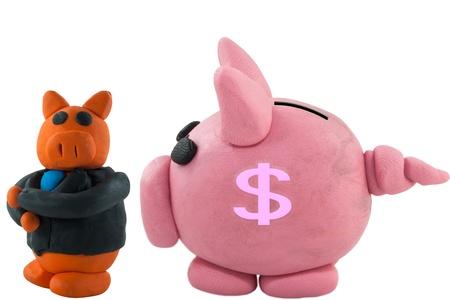 Businessman pig thinking and pig bank talk photo