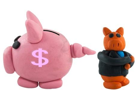 Thinking businessman pig and pig bank photo