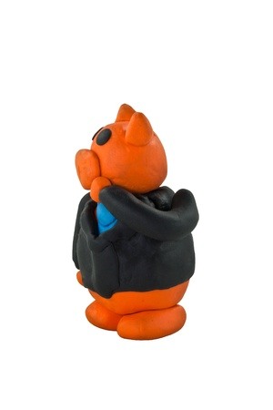 Thinking businessman pig photo