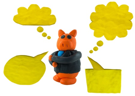 male pig: Male business pig with bubble talk Stock Photo