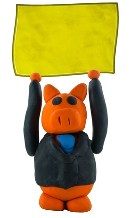 Businessman pig hand up and hanging sign photo
