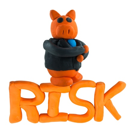 Thinking Businessman pig on risk wording concept risk management Stock Photo - 17921677