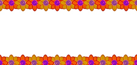 Orange flower row made from clay Stock Photo - 17921697