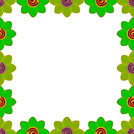 Green flower square border made from clay photo