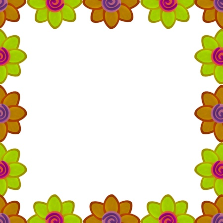 Orange and yellow flower square border made from clay photo