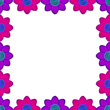 Purple and pink flower square border made from clay photo