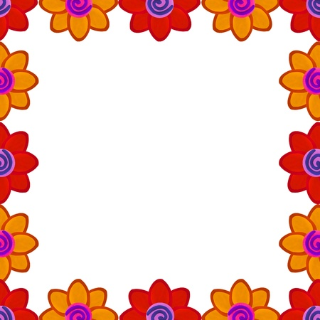 Orange and red flower square border made from clay Stock Photo - 17921682