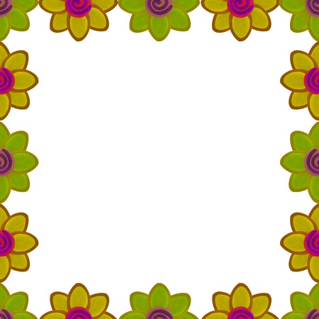 Yellow flower square border made from clay photo