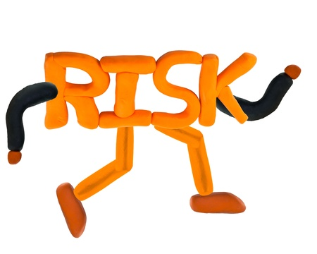 Running wording pig in concept risk management Stock Photo - 17921672