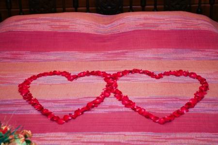 Rose petal shape heart on bed photo