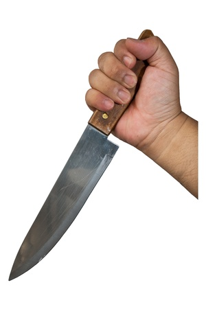 Hand hold knife on white Stock Photo