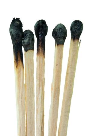 dangerous ideas: Burned match on white background