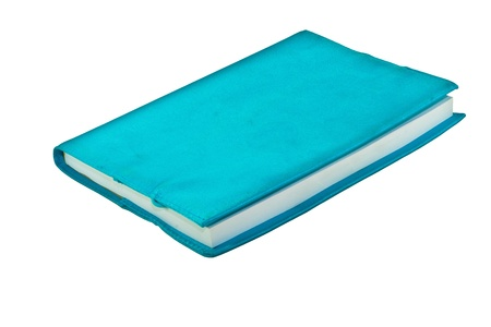 Blue notebook on white isolate background photo