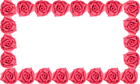 Border of red rose made from clay on white isolate background photo