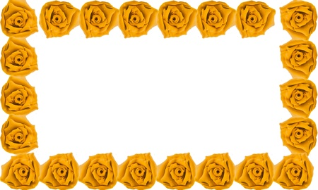 Border of yellow rose made from clay on white isolate background photo