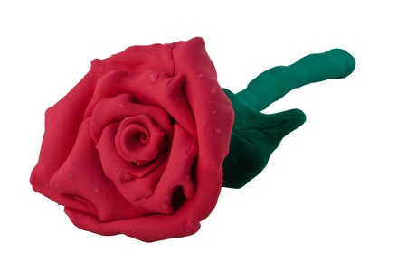 Rose made from plasticine sculpture technique on white isolated background