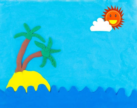 Sea and island made from clay with sun and cloud on blue sky photo