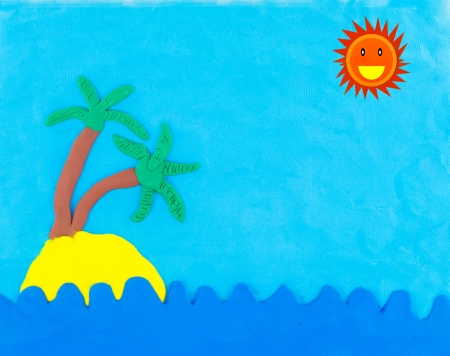Sea and island made from clay with sun  on blue sky photo