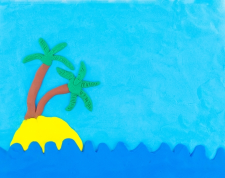 Sea and island made from clay on blue sky photo