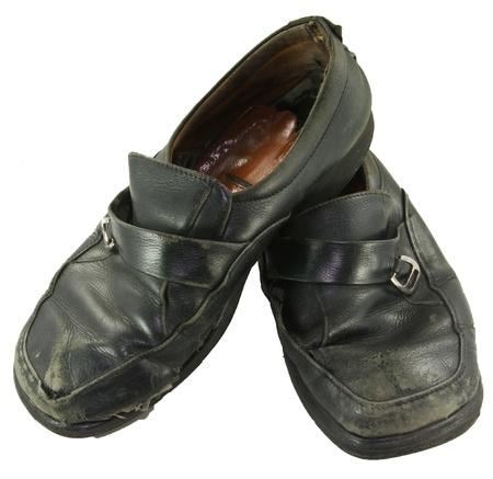 Old damage letter shoe on white isolate background Stock Photo