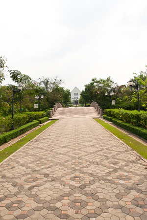 brick pathway with bridge in concept business go toward or go together photo
