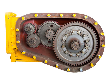 Cog or gear of engine on white isolated background photo