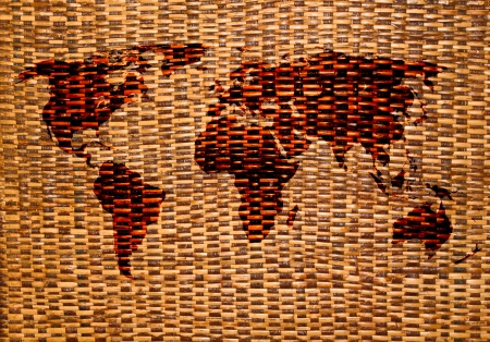 brown Rattan texture background and has world map on center photo