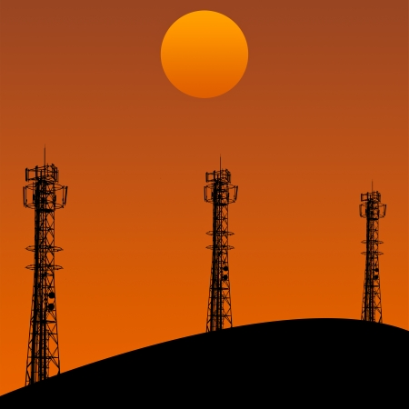 cell phone transmitter tower: tree of Telecommunication tower in sunset day in the orange sky