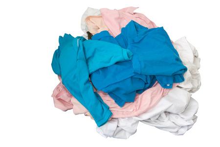 unwashed: Vestiti non lavati su sfondo bianco isolato utilizzato per il concetto sporca o impuro