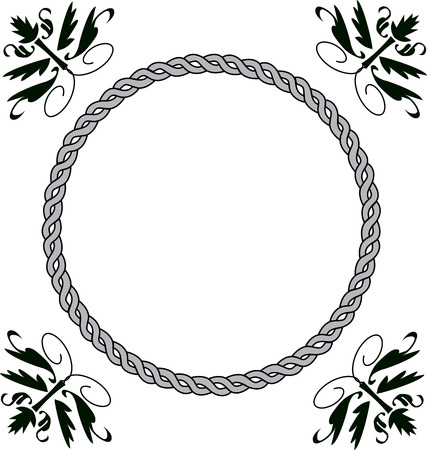 Black border frame design and has rope like border use for wedding card or photo frame Vector