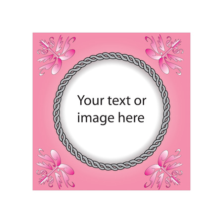 pink border frame design and has rope like border use for wedding card or photo frame Vector