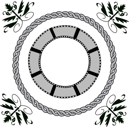 Circle film background with rope and line art design on white isolated background