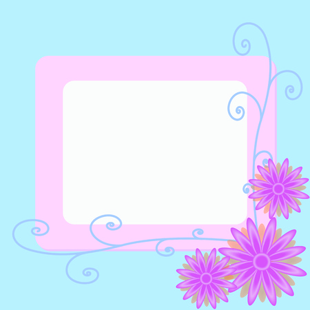 pink Flower vector background with blue border and art line