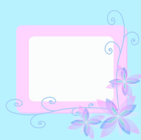 rosa Fiore vettore sfondo con bordo blu e line art