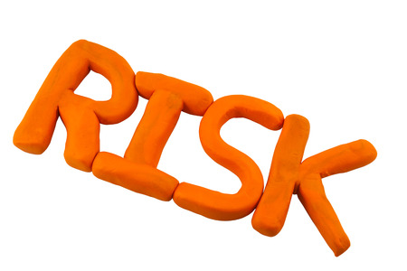Risk made from clay or plasticine with clipping path on white Stock Photo