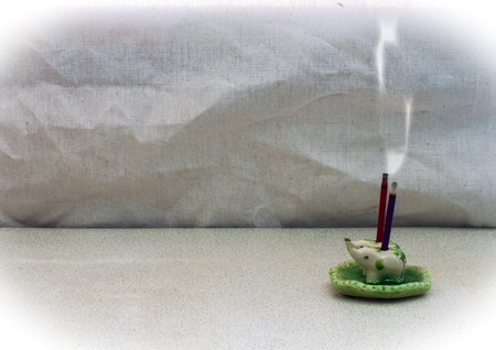 still life aroma joss stick in incense burner. concept relax photo