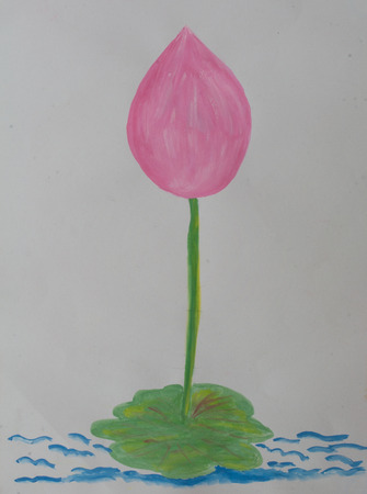 pink lotus on water made from water color painting with leaf photo