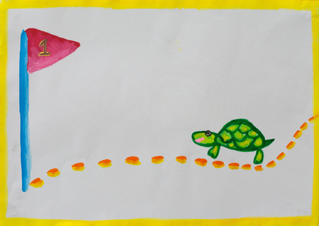 turtle walk to goal made from water color. in concept slow business to goal photo