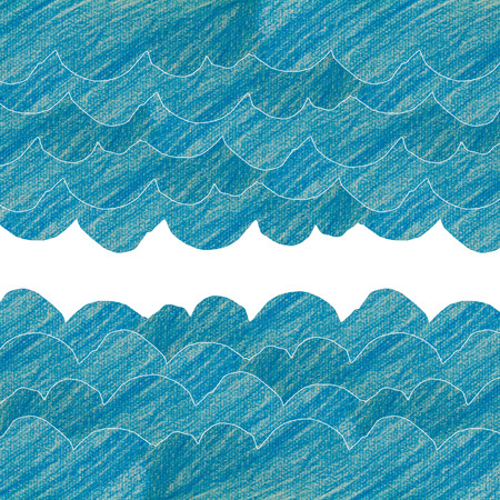 clound: blue wave or clound background made from painting pencil color on drawing paper Stock Photo