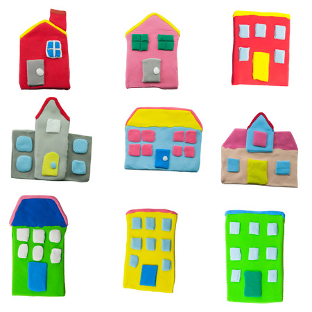 set of colorful house and building made from plasticine on white background photo