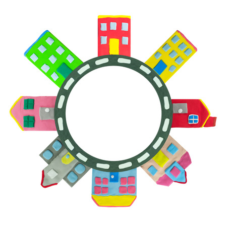 plasticine: colorful Town building and house on circle road made from plasticine