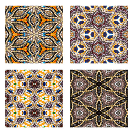 saemless: Set of colorful Rock and bead Saemless Mosaic background