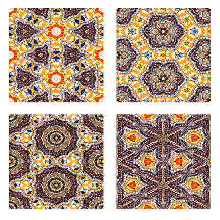 Set of colorful Rock and bead Saemless Mosaic background