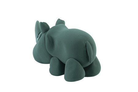 creative arts: rhino made from plasticine in concept wide life