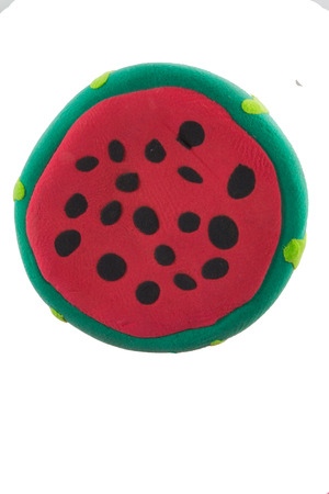 fruit: Green Water melon made from plasticine in concept fruit Stock Photo