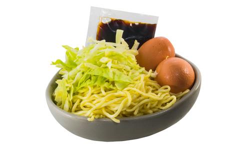 yakisoba: Raw yakisoba ingredient ready for cooking on white