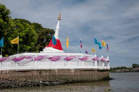 nontaburi: White pagoda in Wat Poramaiyikawas Worawihan Koh Kred Nontaburi Thailand