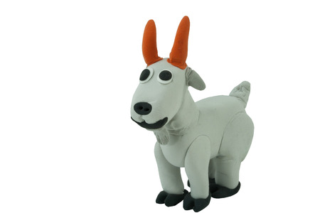 smiling goat: gray goat made from plasticine