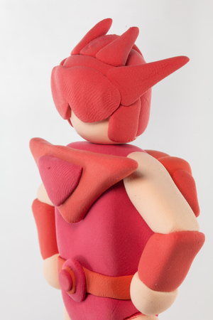 man close up: Close up red super hero made from plasticine use for super special protect concept