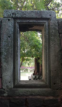 Prasat Hin Rock castle in Phimai Historical Park Nakonratchasima Thailand Stock Photo
